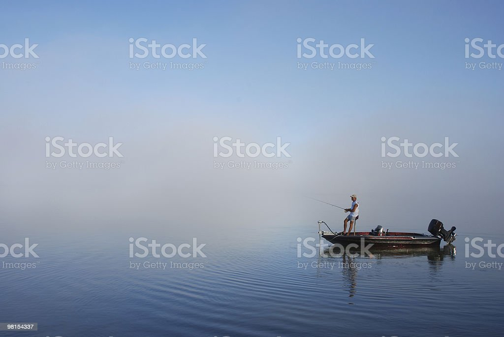 Fishing by boat on East Bay Florida royalty-free stock photo