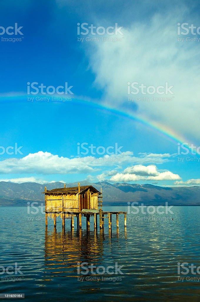 Fishing Cabin on a Lake royalty-free stock photo