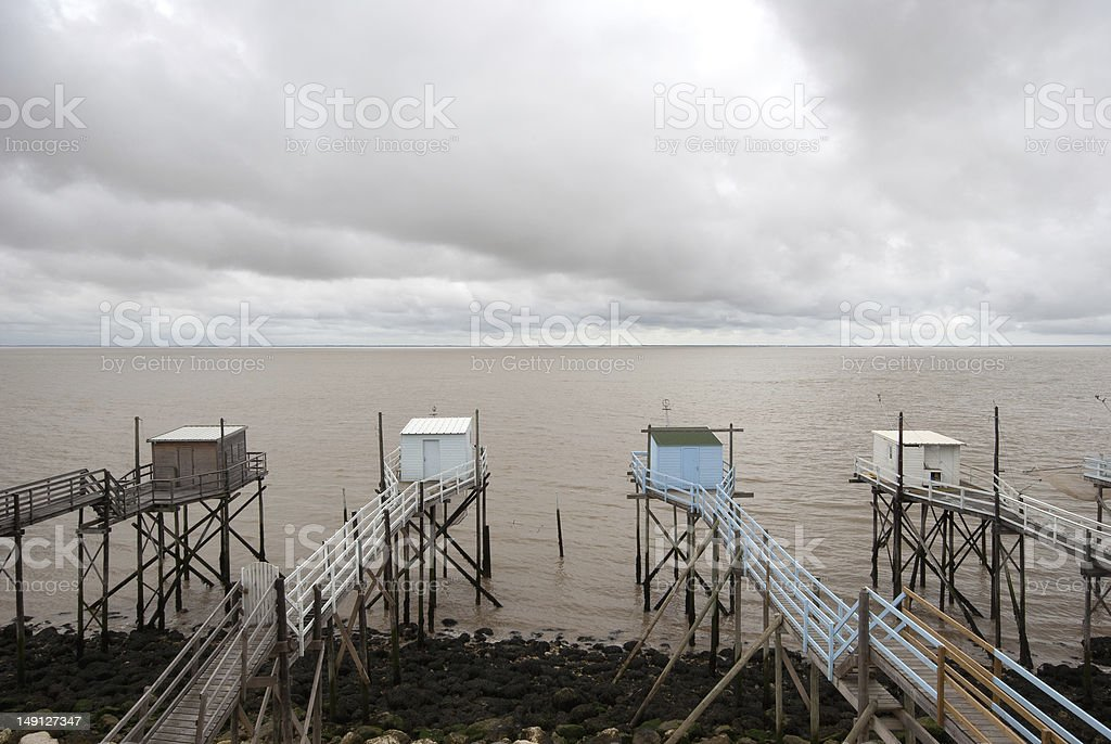 Fishing cabins stock photo