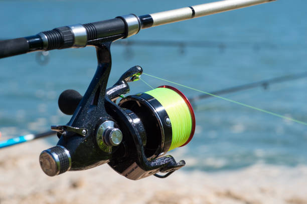 Fishing carp reel close-up on the background of water and fishing rods in a bright Sunny day. Background Fishing carp reel close-up on the background of water and fishing rods in a bright Sunny day. Background. fishing line stock pictures, royalty-free photos & images