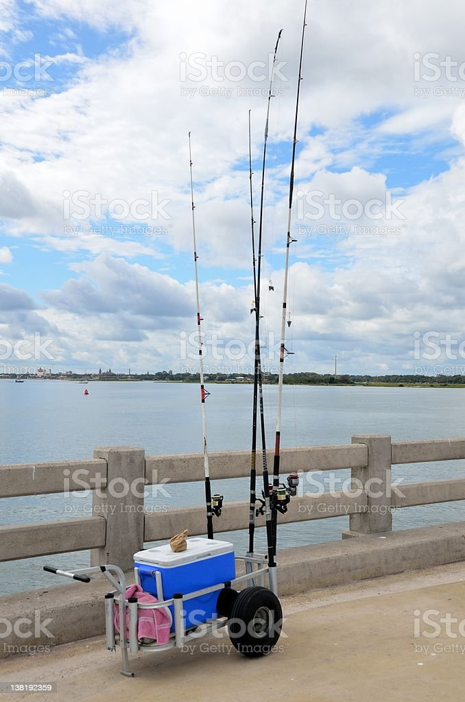 Fishing Cart On Pier stock photo