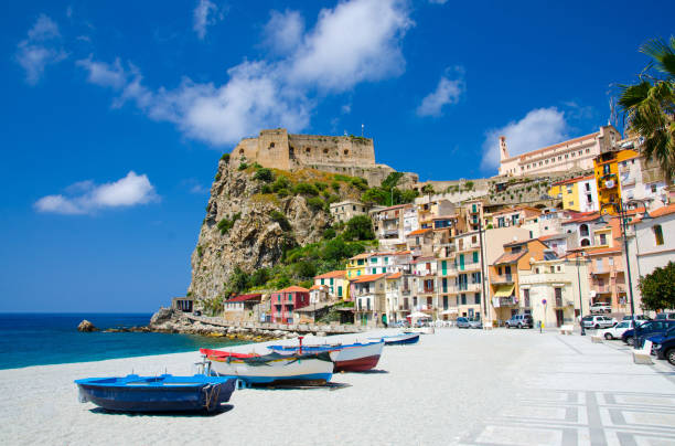 fishing colorful boats on sandy beach, scilla, calabria, italy - foto di tropea foto e immagini stock