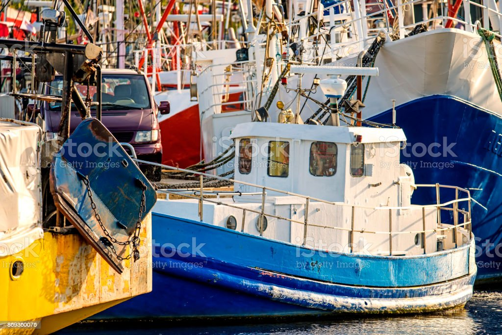 fishing cutter in the port of Ustka, Poland stock photo