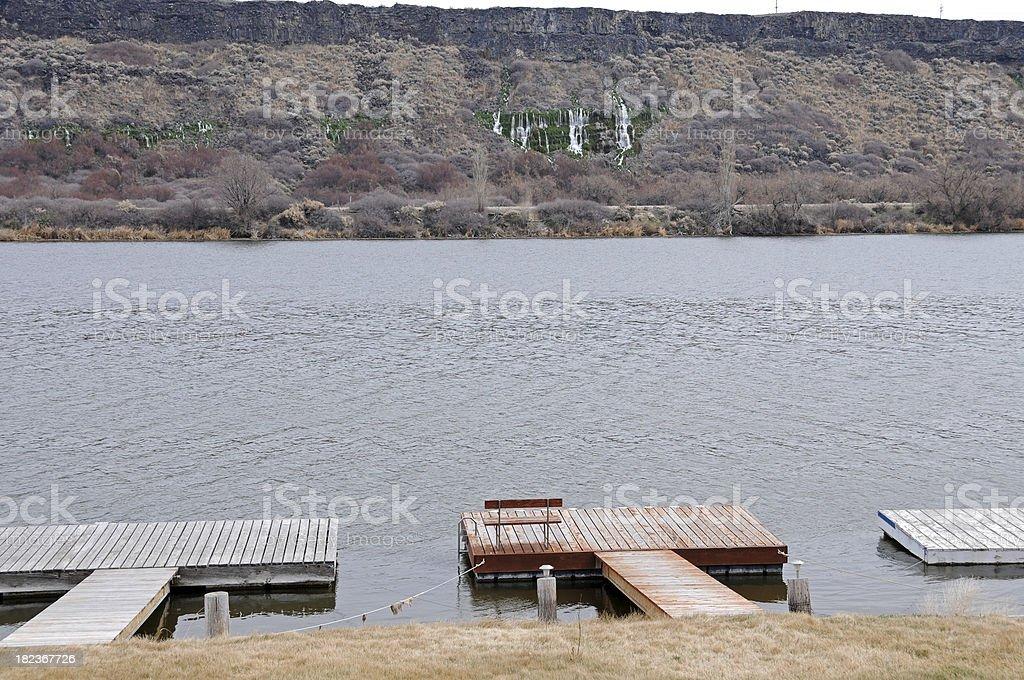 Fishing docks on Snake River in Idaho royalty-free stock photo