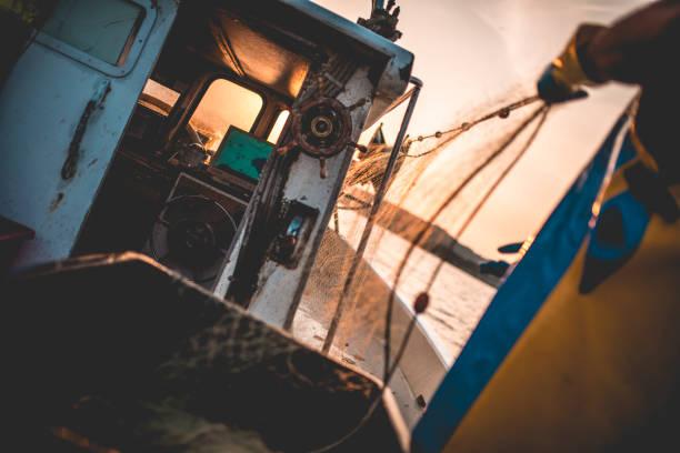 angeln am frühen morgen - segelhandschuhe stock-fotos und bilder