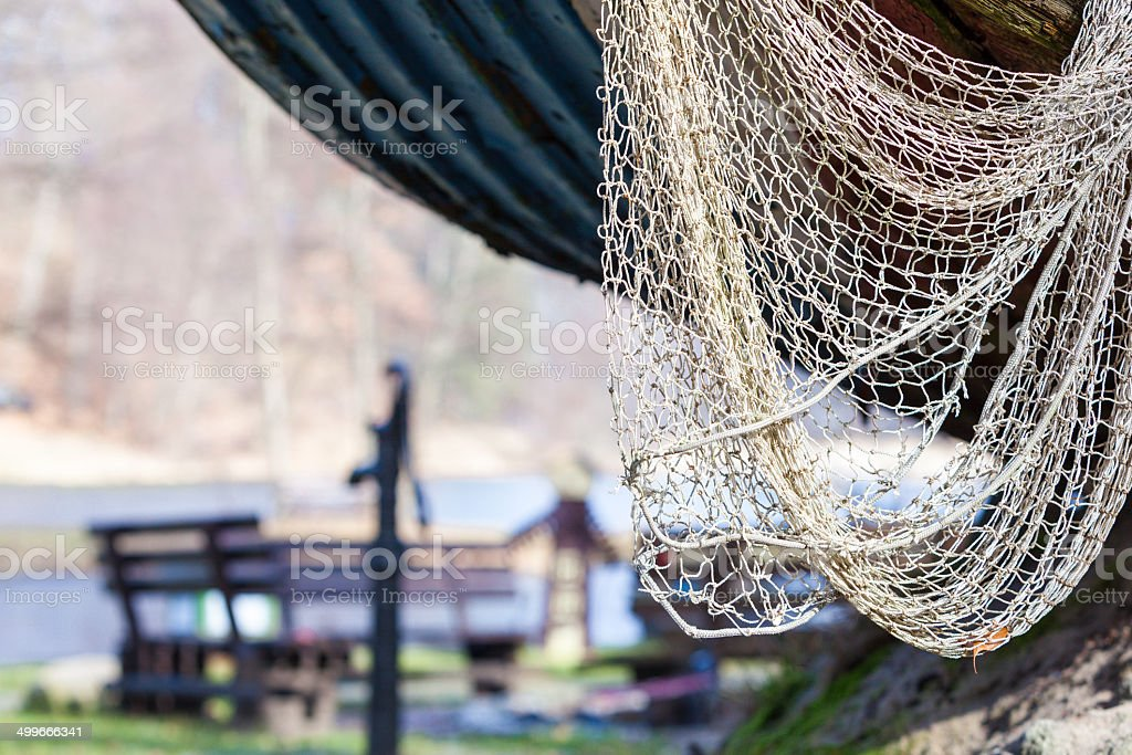 Fishing equipment. Closeup of white fishnet net outdoor royalty-free stock photo