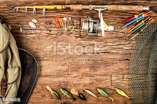 istock Fishing equipment 625780318