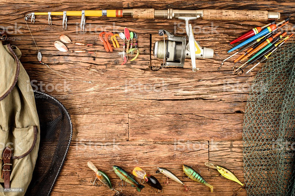 Fishing equipment stock photo