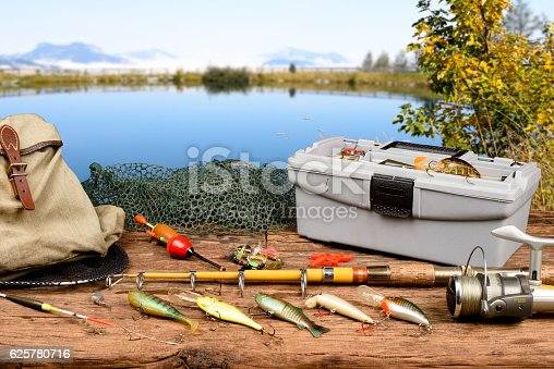 istock Fishing equipment 625780716
