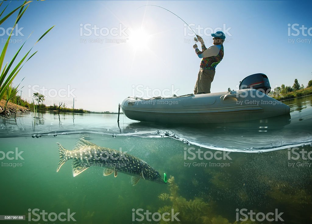 Fishing. Fisherman on the boat. Underwater view. Pike stock photo