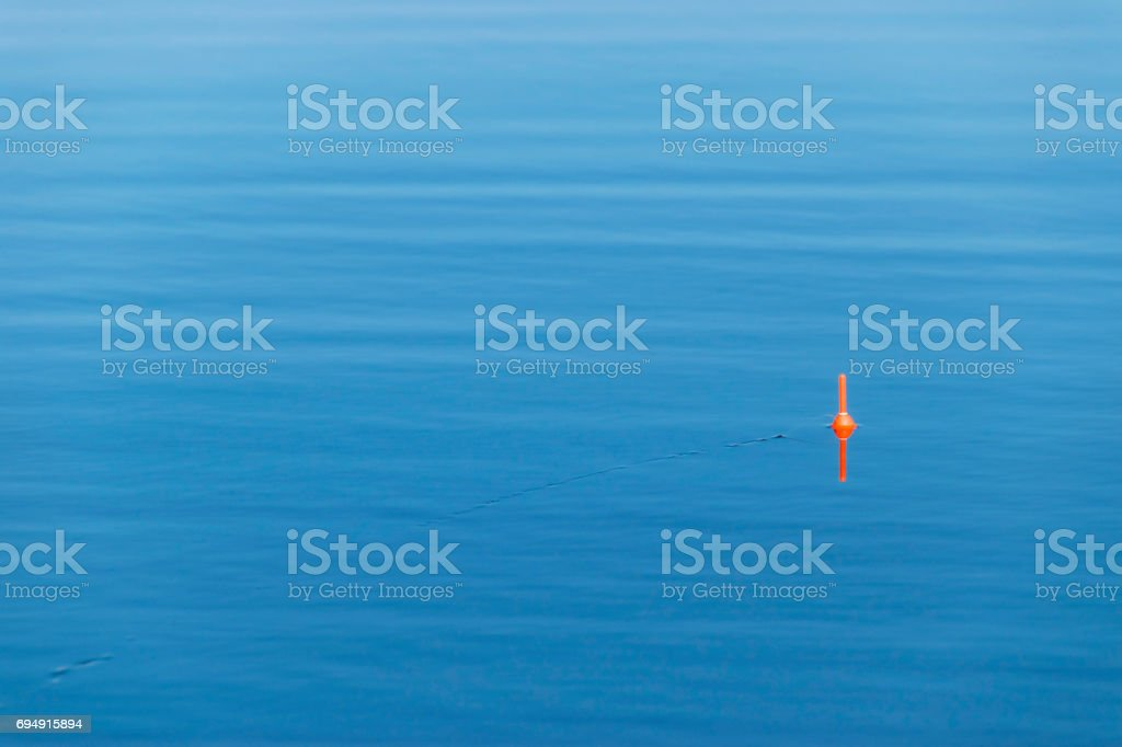 Fishing float with the line on the blue water stock photo