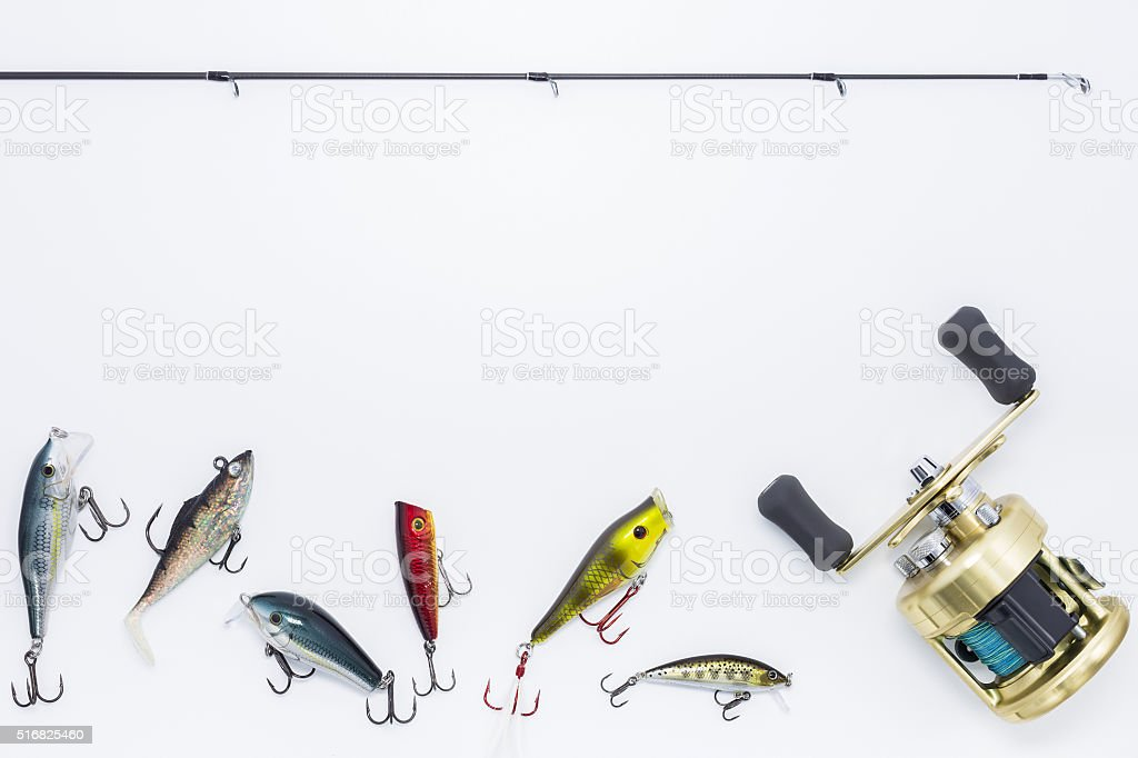 Fishing gear on  white background and space for text stock photo