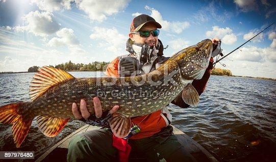 istock Fishing. Happy angler with pike fishing trophy 897976480