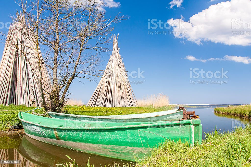 Fishing harbor in the village of Izbica royalty-free stock photo
