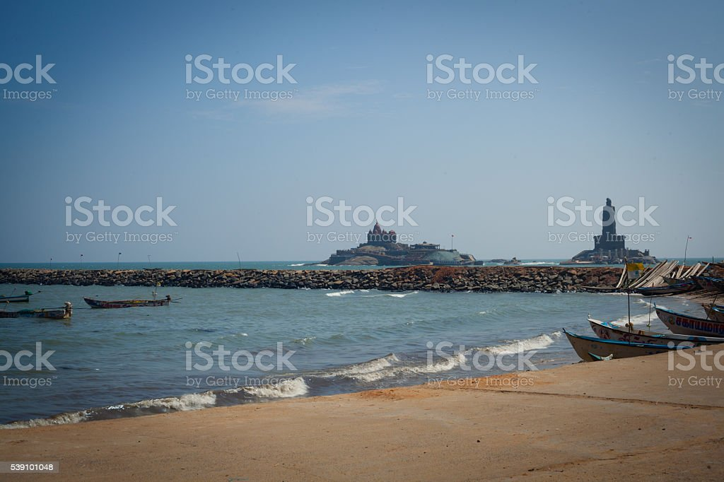 Fishing harbor with large church in background, Laccadive Sea stock photo