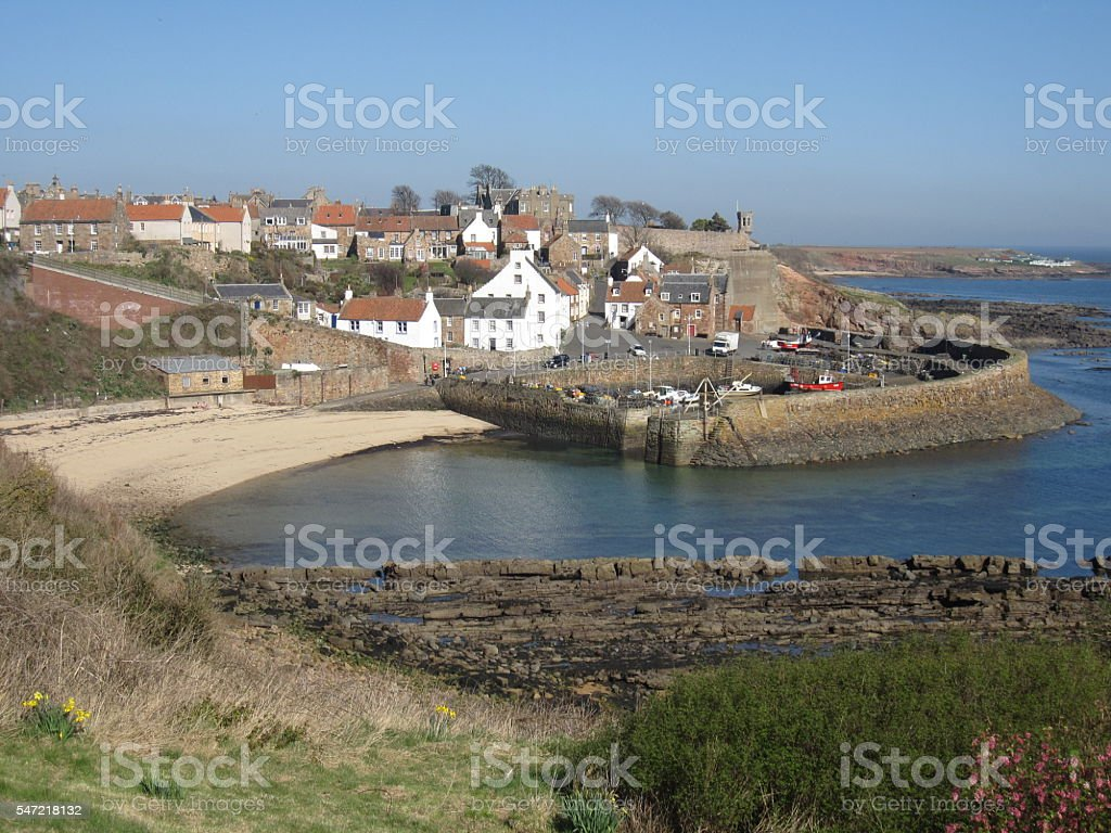 Fishing Harbour at Crail, Scotland stock photo
