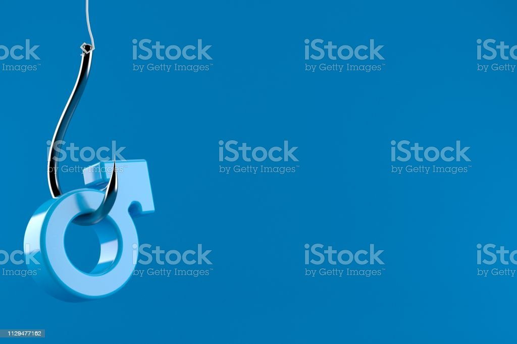 Fishing hook with male gender symbol isolated on blue background. 3d...