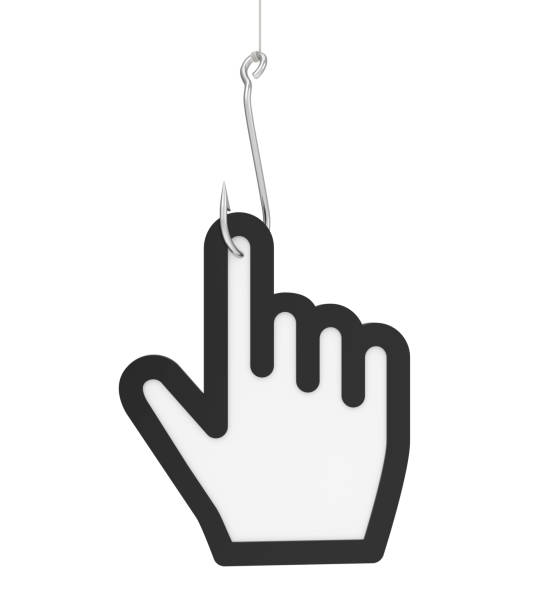 fishing hook with mouse cursor isolated (clickbait concept) - mouse pointer stock photos and pictures