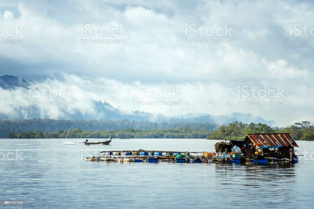Fishing house on the water royalty-free stock photo