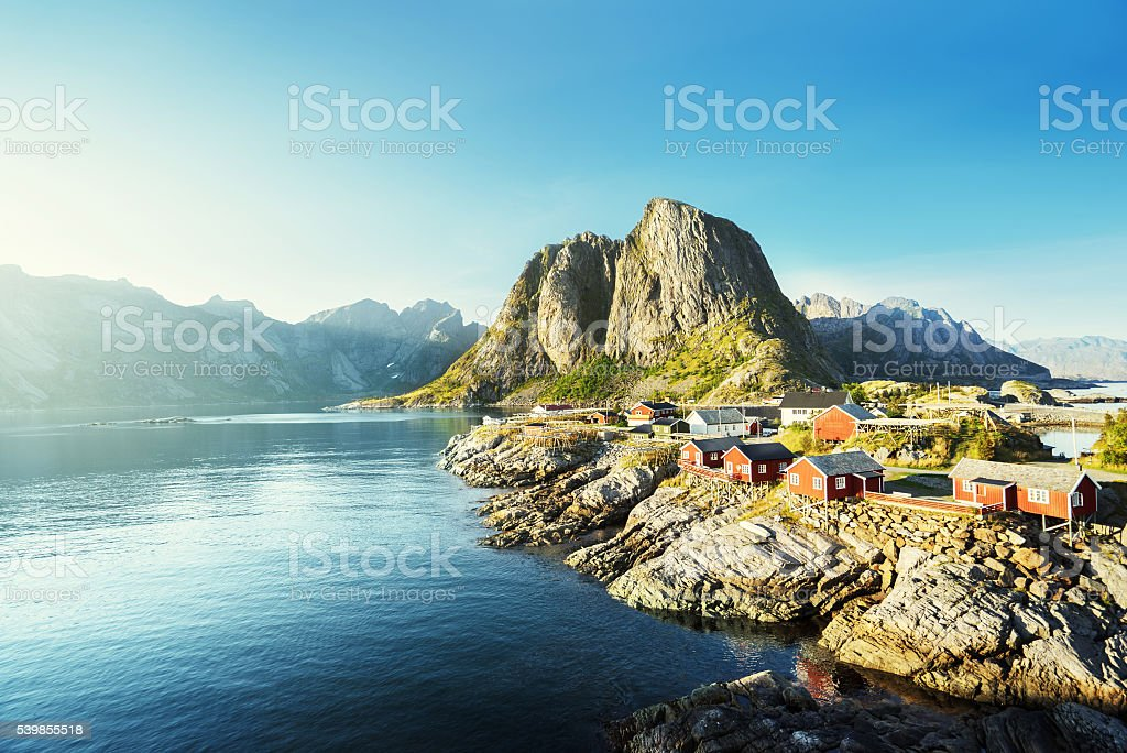 Fishing hut  in the Hamnoy - Reine, Lofoten islands, Norway stock photo