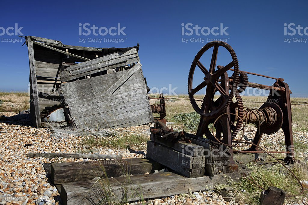 fishing hut wreck ruin dungeness coast royalty-free stock photo