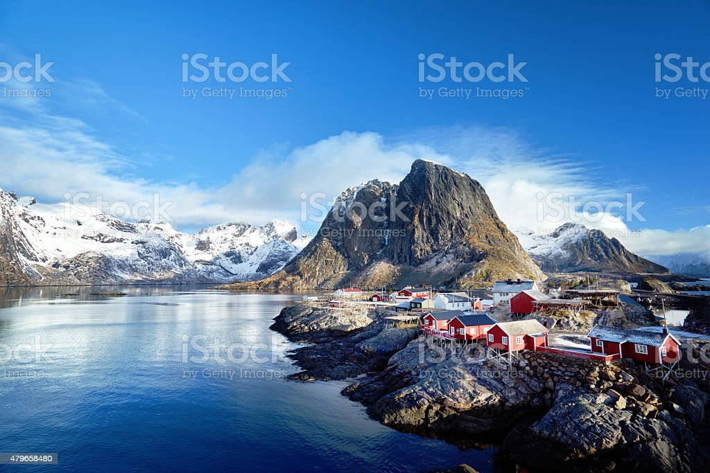Fishing huts at spring day - Reine, Lofoten islands, Norway stock photo