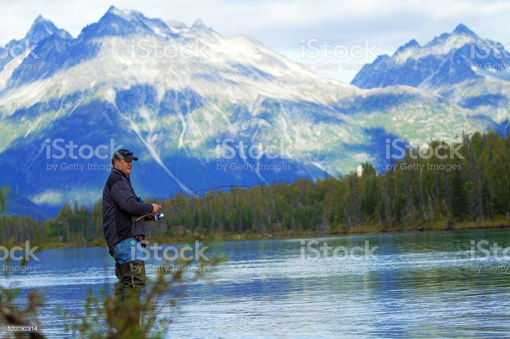 Fishing in Alaska stock photo