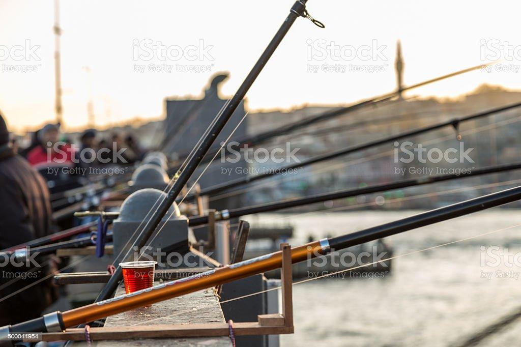 Fishing in Istanbul stock photo