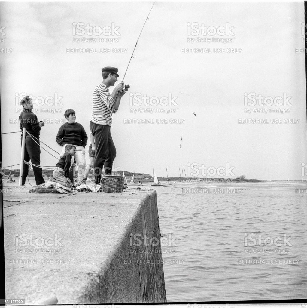 Fishing in Saint-Tropez, France. 1963 stock photo