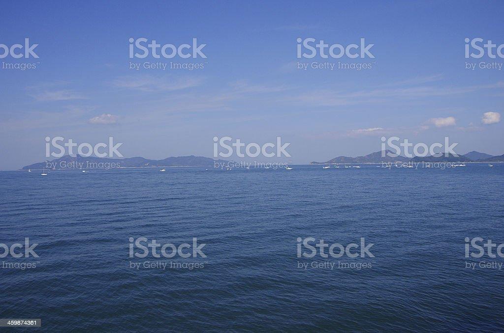fishing in Seto Inland Sea stock photo