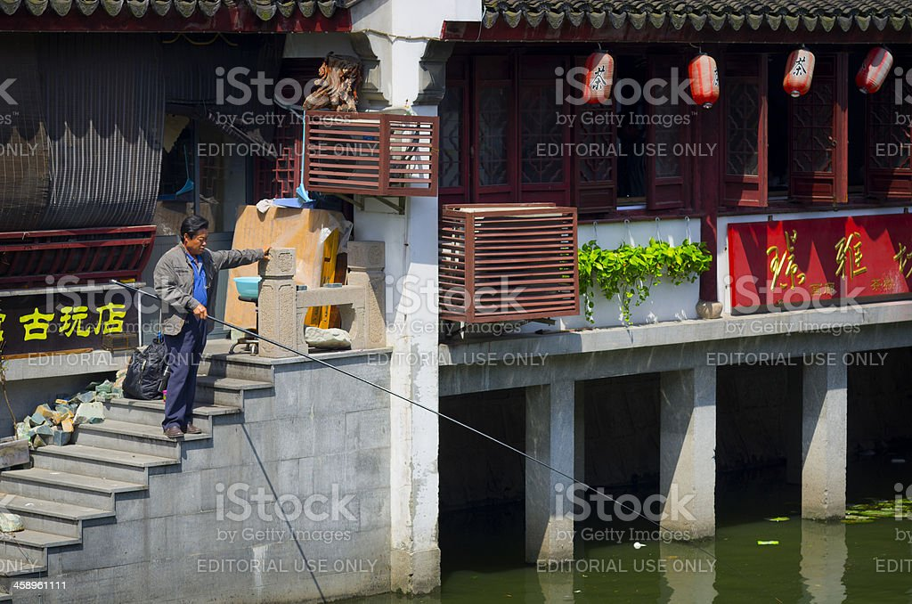 Fishing in Shanghai royalty-free stock photo
