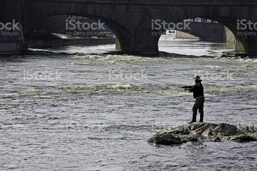Fishing in the downtown Stockholm royalty-free stock photo