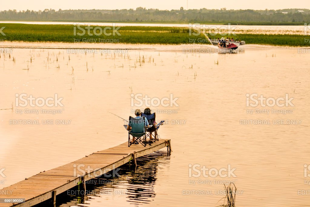 Fishing in the morning stock photo