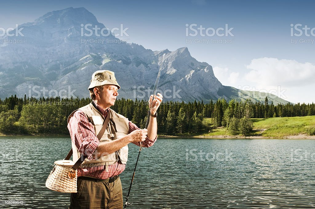 Fishing in the Mountains stock photo