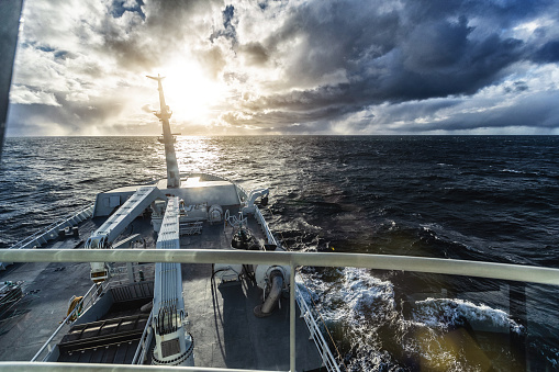 POV From the bridge of a boat sailing ocean
