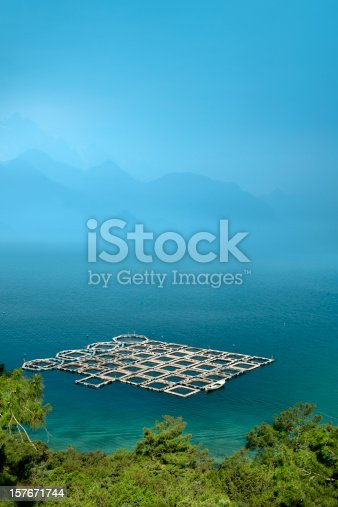elevated view of fish farm in Bodrum, Turkey.