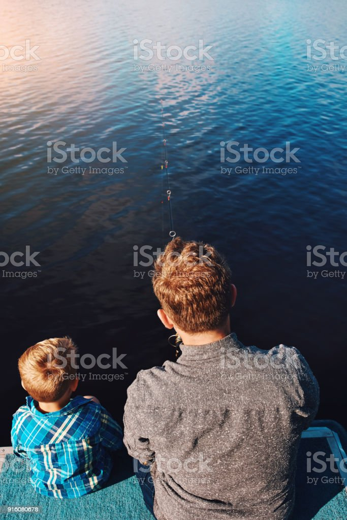 Fishing is tradition on Sundays stock photo