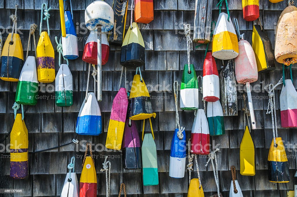 Fishing Lobster Bouys stock photo