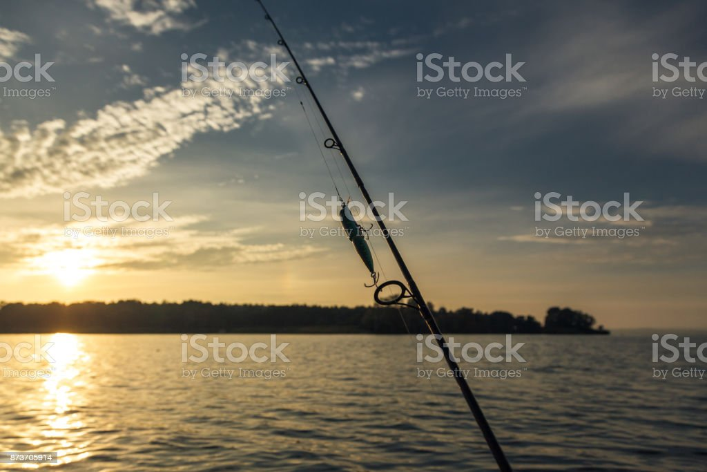 Fishing Lure hooked on a spinning stock photo