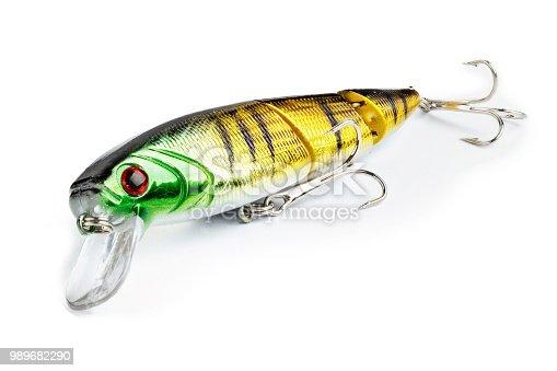 989682362 istock photo Fishing lure isolated on white 989682290