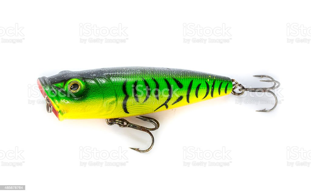 Fishing lure popper. Casting and spinning. Isolated stock photo