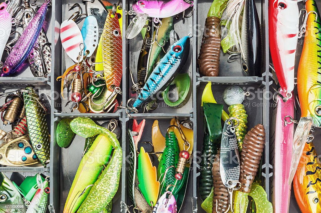 fishing lures and accessories in the box stock photo