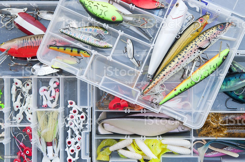 Fishing Lures in tackle boxes stock photo