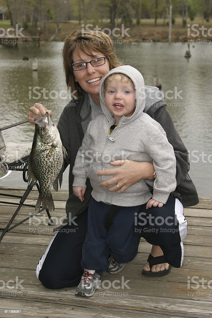 Fishing Mother and Son stock photo