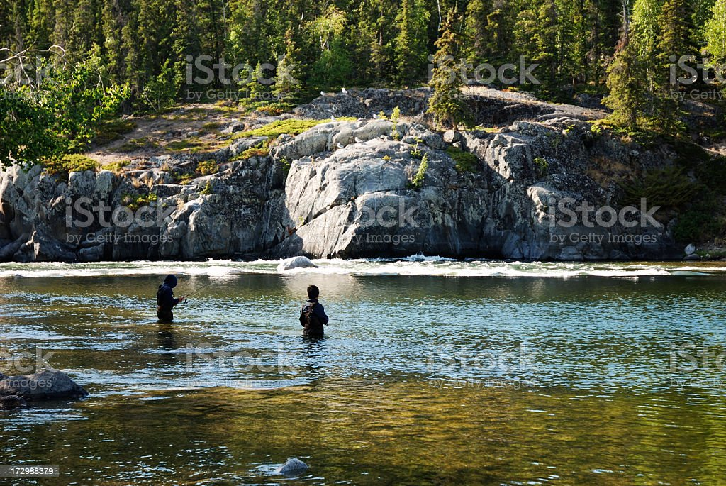 Fishing near Yellowknife. stock photo