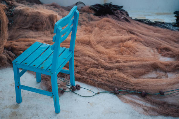 Fishing net and blue chair