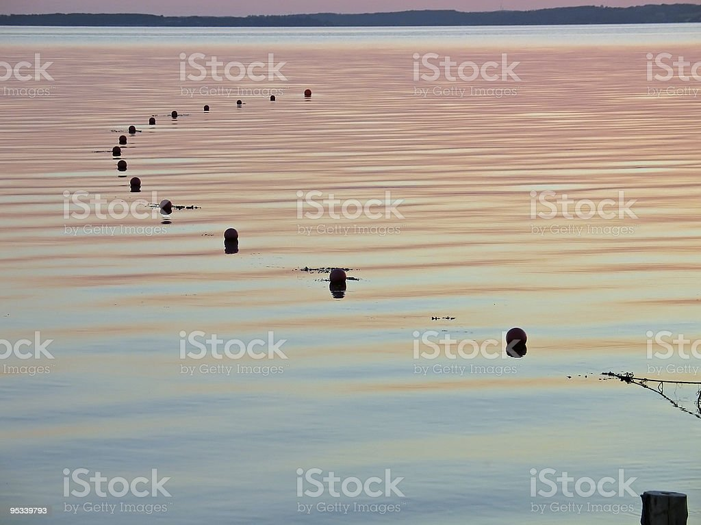 Fishing net floats on the water royalty-free stock photo