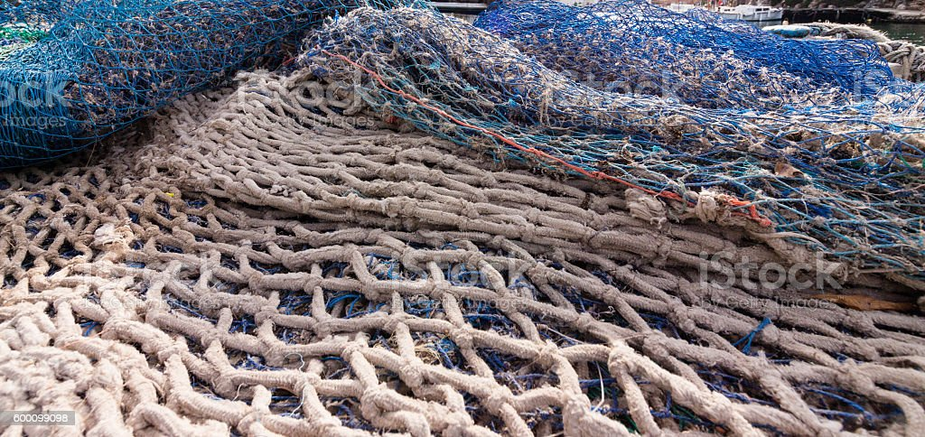 Fishing Net in a harbour stock photo
