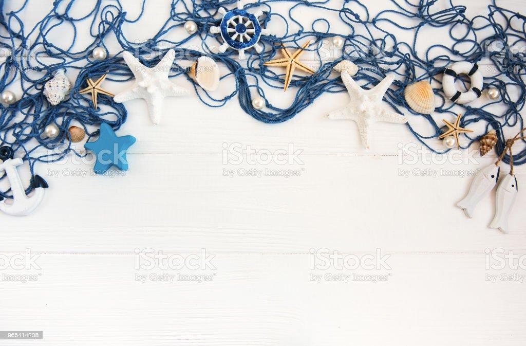 Fishing net with starfish zbiór zdjęć royalty-free