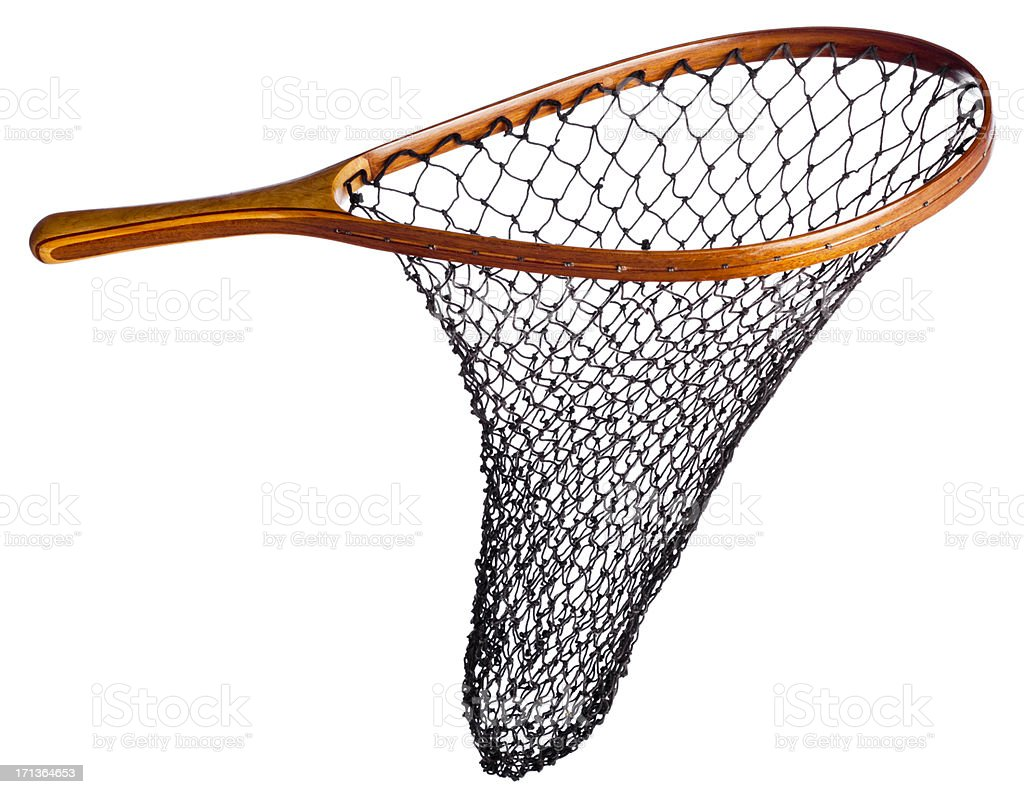Fishing net with wood handle, isolated on white. stock photo